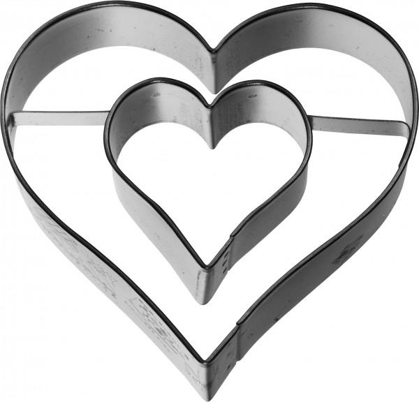 Herz mit Innenherz Birkmann Ausstechform 6cm