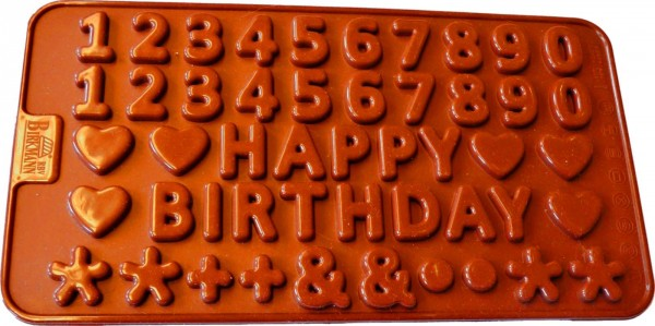 Zahlen und Happy Birthday Pralinenform